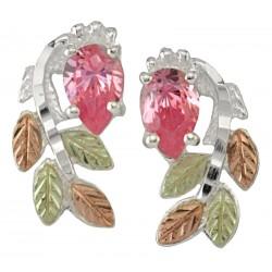 Black Hills Gold on Sterling Silver Post Earrings w/ Pink CZ