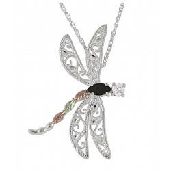 BLACK HILLS GOLD .925 STERLING SILVER ONYX AND CZ DRAGONFLY PENDANT NECKLACE
