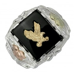 Black Hills Sterling Silver Men's Eagle Ring with Onyx