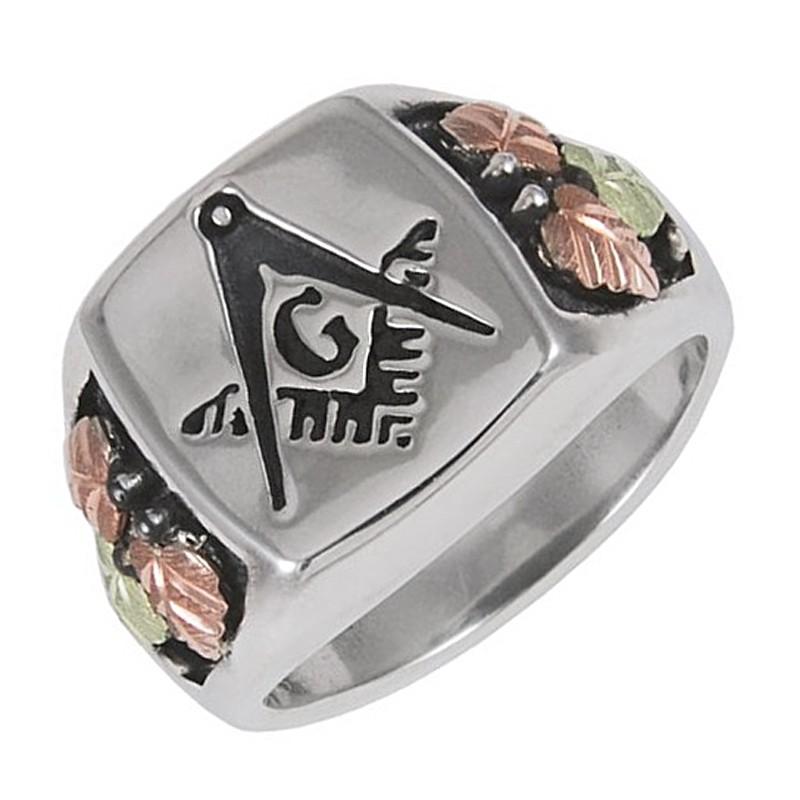Black Hills Sterling Silver Oxidized Masonic Mens Ring