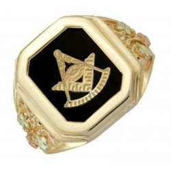 10K Black Hills Gold Masonic Onyx Mens Ring