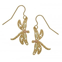 10k Black Hills Gold Dragonfly Earrings