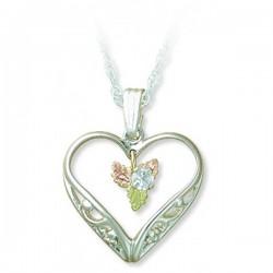 Black Hills Gold Silver Silver 3mm White Sapphire Heart Pendant