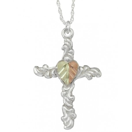 BLACK HILLS GOLD STERLING SILVER CROSS INSPIRATIONAL PENDANT NECKLACE