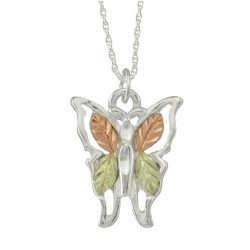 Black Hills Gold .925 Sterling Silver Small Butterfly Pendant Necklace