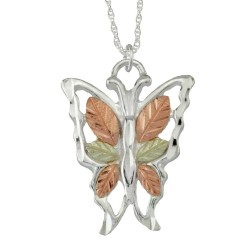 Black Hills Gold .925 Sterling Silver Ladies Butterfly Pendant Necklace