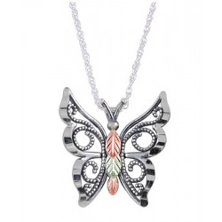 Black Hills Gold .925 Oxidized Sterling Silver Butterfly Pendant Necklace