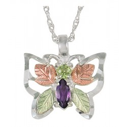 BLACK HILLS GOLD .925 STERLING SILVER PERIDOT AMETHYST BUTTERFLY PENDANT NECKLACE
