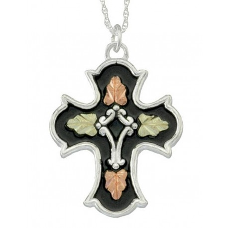 BLACK HILLS GOLD ANTIQUED SILVER CROSS INSPIRATIONAL PENDANT NECKLACE
