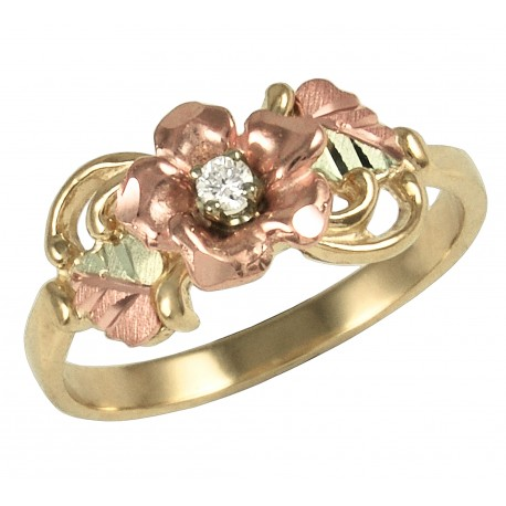 BLACK HILLS GOLD .04 TW DIAMOND ROSE RING for LADIES