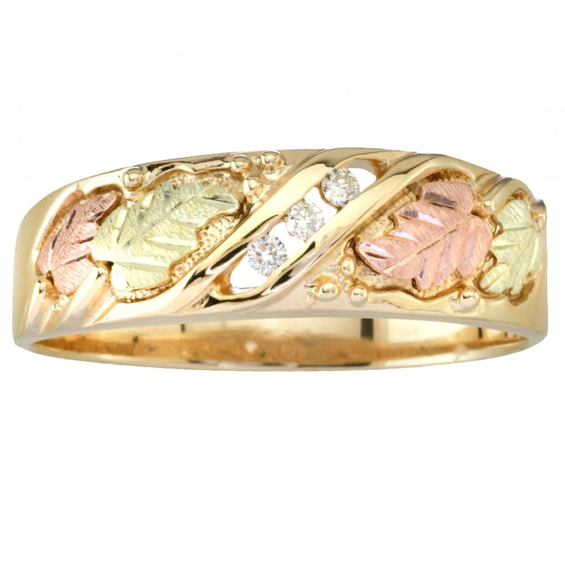 Tri-color Men's Black Hills Gold And Diamond Wedding Ring