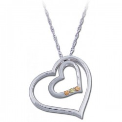 Black Hills Gold .925 Sterling Silver Ladies Heart Pendant Pendant Necklace