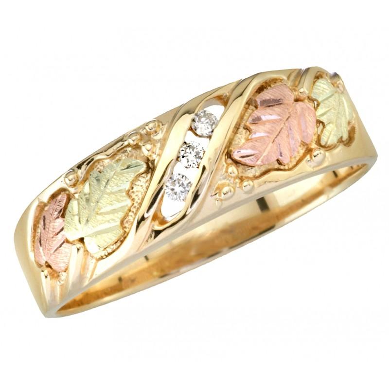 Tri Color Men S Black Hills Gold And Diamond Wedding Ring