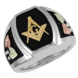 Black Hills Gold on Sterling Four Tone Silver Masonic Ring For Men