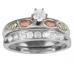 Black Hills Gold Sterling Silver with Cubic Zirconia Ring Bridal Set