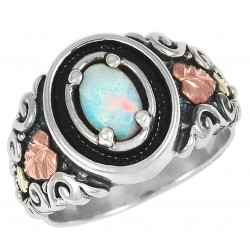 Black Hills Gold  on Sterling Silver Oxidized Ladies Ring With Opal