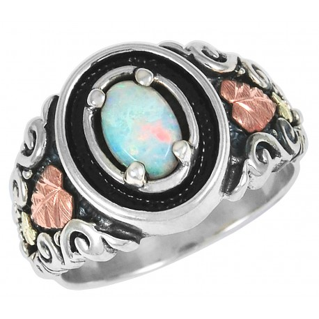Black Hills Gold Oxidized Sterling Silver Ring With Opal