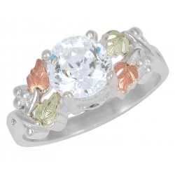 Tri-color Black Hills Gold on Sterling Silver CZ Ring