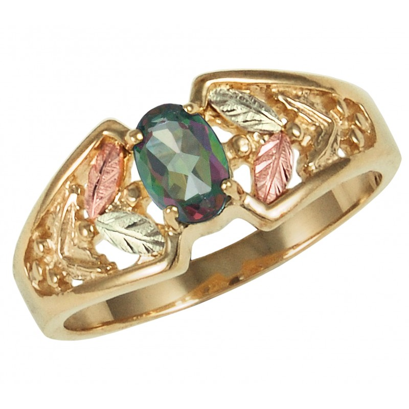 10k Mystic Fire Topaz Ring Accented With 12k Gold Leaves