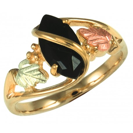 Black Hills Gold Ladies Ring with Marquise-shaped Black Onyx