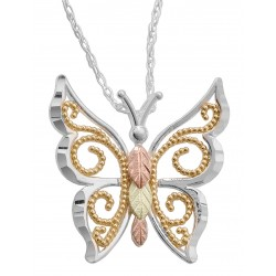 Black Hills Gold and Sterling Silver Butterfly Pendant Necklace