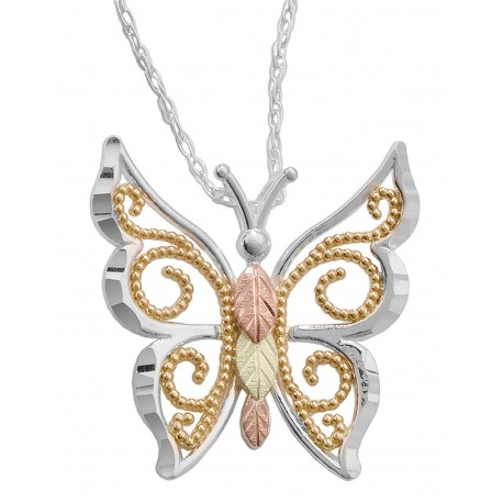 BLACK HILLS GOLD .925  STERLING SILVER BUTTERFLY PENDANT NECKLACE