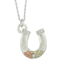 BLACK HILLS GOLD .925 STERLING SILVER HORSESHOE PENDANT NECKLACE