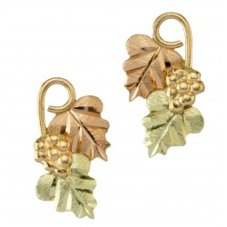 10k Black Hills Gold Grape On Vine Earrings