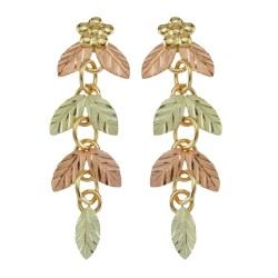 10k Black Hills Gold Leaves And Grapes Earrings