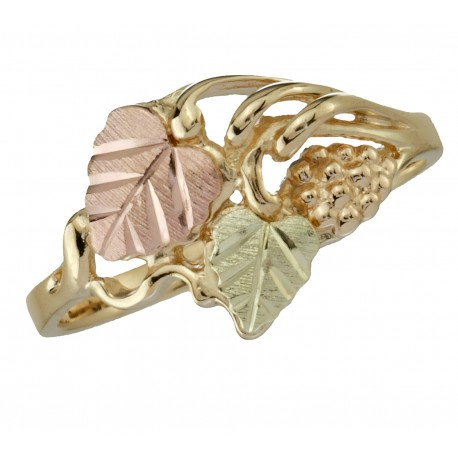 BLACK HILLS GOLD GRAPE CLUSTERS and LEAVES RING for LADIES