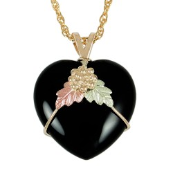 10K BLACK HILLS GOLD 16X16MM ONYX LADIES PENDANT NECKLACE