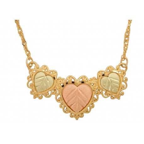10K BLACK HILLS GOLD HEART LADIES PENDANT NECKLACE