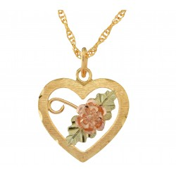 Black Hills Gold Rose Heart Pendant
