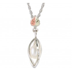 BLACK HILLS GOLD .925 STERLING SILVER PEARL PENDANT NECKLACE