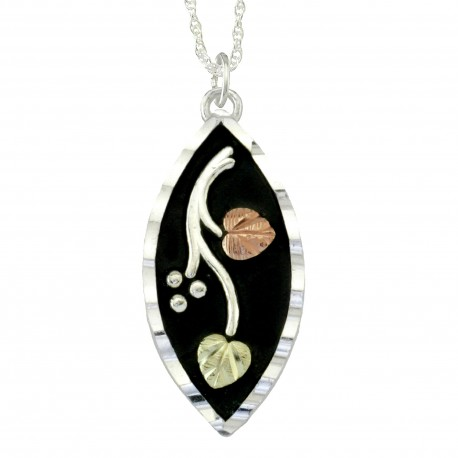 Black Hills Gold Antiqued Sterling Silver  Pendant Necklace