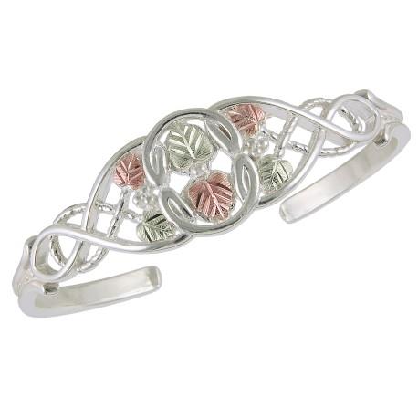 Black Hills Gold on Sterling Silver Tri-color Cuff Bracelet