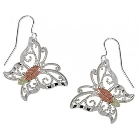 Black Hills Gold Sterling Silver Butterfly Earrings