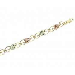 Tri-Color Black Hills Gold Leaves Bracelet