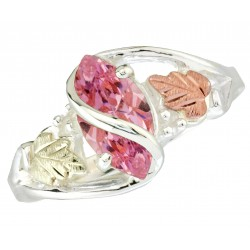 Black Hills Gold Sterling Silver Pink Cubic Zirconia Ring