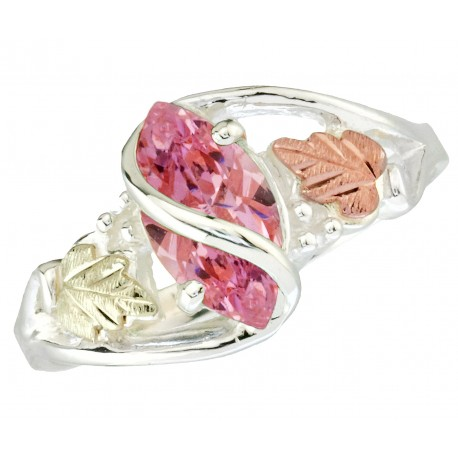 BLACK HILLS GOLD .925 SILVER LADIES 10X5MM PINK CZ RING