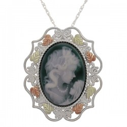 Black Hills .925 Sterling Silver Agate Mother & Child Pin/Pendant Necklace