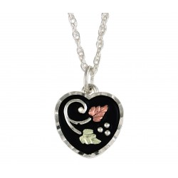 BLACK HILLS GOLD LADIES ANTIQUED STERLING SILVER HEART PENDANT NECKLACE