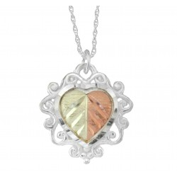 Black Hills Gold .925 Sterling Silver Heart Pendant Necklace