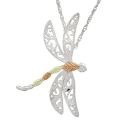 Black Hills Gold on Sterling Silver Dragonfly Pendant Necklace