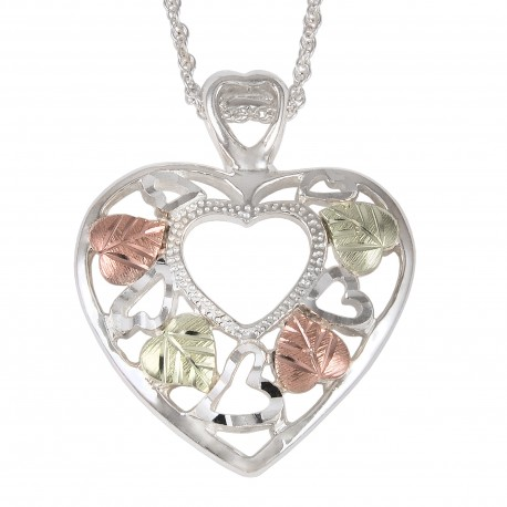 BLACK HILLS GOLD .925  STERLING SILVER HEART  PENDANT NECKLACE