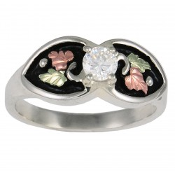 Antiqued Silver Cubic Zirconia Ring with 12k Gold Leaves