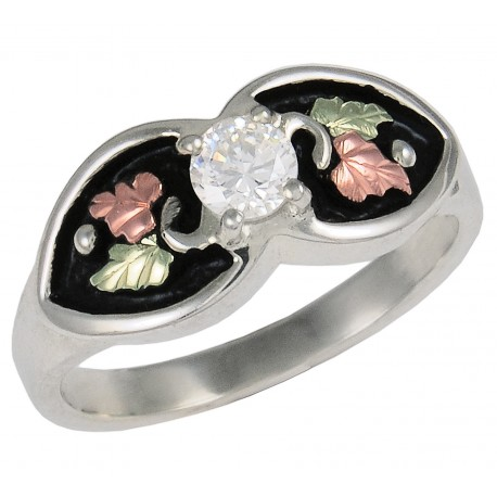 Antiqued Silver Cubic Zirconia Ring wtih 12k Rose and Green Gold