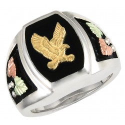 Black Hills Gold on Sterling Silver Onyx Mens Ring w/ 10K Gold Eagle