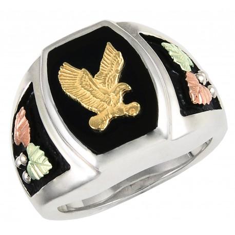 Black Hills Gold on Sterling Silver Onyx Mens Ring w/ 10K Gold Eagle