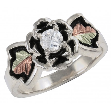 Black Hills Gold Antiqued Sterling Silver Rose Ring With Cubic Zirconia